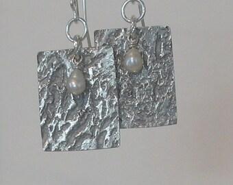 Textured Metal Clay Earrings, Metal Jewelry, Freshwater Pearl Dangle, Textured Silver Earrings, Fine Silver Earrings, SRAJD