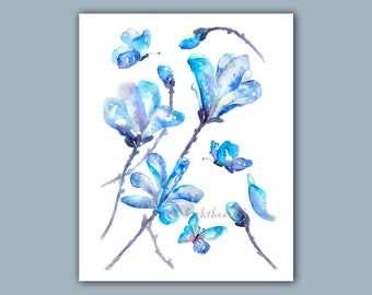 Blue bedroom print, Magnolia Print, Bedroom wall art, Blue Bathroom Decor, butterfly art, Housewarming Gift, Watercolor flowers