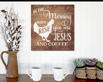 Coffee Sign, Coffee Decor, Coffee bar Decor, Coffee Bar Sign, Coffee and Jesus Sign, Kitchen Decor, Farmhouse Kitchen Sign, Distressed Signs