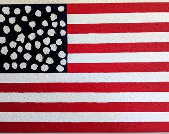 Large Original Textured American Flag Painting