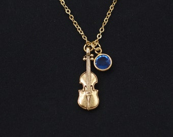 violin necklace, gold filled, birthstone necklace, gold violin charm, musician gift, gifts for classical music lover, violin player, teacher