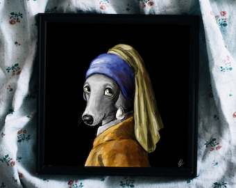 The Dog with the Pearl Earring Print