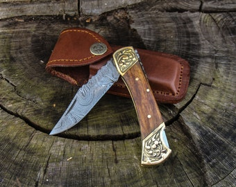 """7"""" Folding Hunter Pocket Knife Custom Hand Made Forged Damascus Steel Hunting Bowie Knife Wooden Handle Folding With Leather Sheath"""