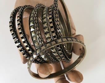 Brass Ox Bangle Bracelets, 3Pcs