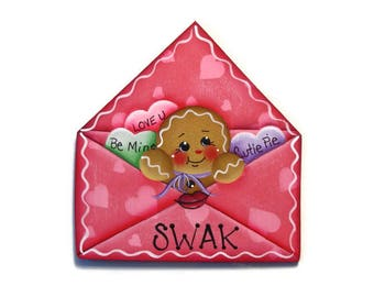 Ginger in Envelope Ornament or Fridge Magnet, Handpainted Wood Gingerbread Refrigerator Magnet, Hand Painted Ginger, Valentine's Day
