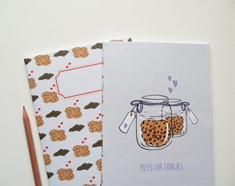 Nuts for Cookies & Cookies vs Chocolate - Blank A5 Notebooks - Pack of 2 Journals