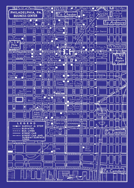 1949 vintage map of downtown philadelphia blueprint map print zoom malvernweather Images