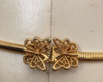 Vintage MIMI DI N Butterfly Belt Buckle with Skinny Stretch Gold Belt