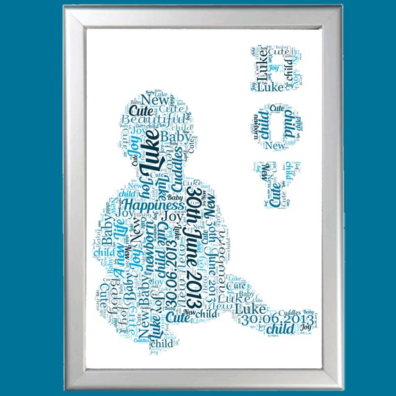 Personalized New Baby Boy Word Art Cloud