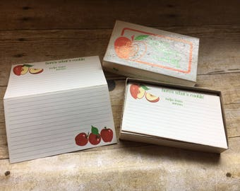 Super cute mid century Here's Whats cookin' apple recipss cards with box!