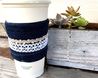 Denim and Lace Ribbons Coffee Cozy Reversible Cup Cozy To Go Cup Sleeve  Stocking Stuffer Teacher Gift