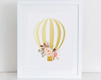 Hot Air Balloon Art Print, Balloon Nursery Art Print, Instant Download, Nursery Art Print, Nursery Wall Decor, Balloon Gold Foil
