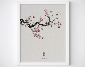 Cherry Blossom Art, Japanese Art Print, Cherry Blossom Print, Japanese Print, Spring Wall Art, Sakura Print, Botanical Print, Floral PrintF