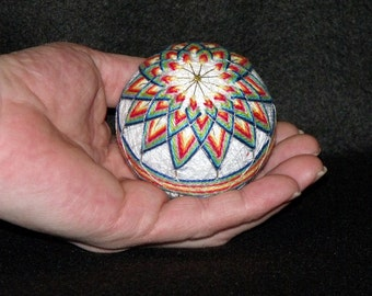 "Rainbow Colored Japanese Temari Ball.....Chrysanthemum Design....4"" diameter -String Art- Japanese Art-Home Decor-OFG Team"