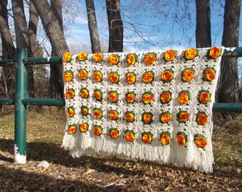 vintage hand made afgha throw blanket flower granny square 3D roses - 70s