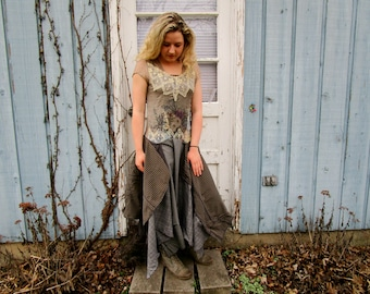 Romantic Upcycled Bohemian Drop Waist Dress// Medium// emmevielle