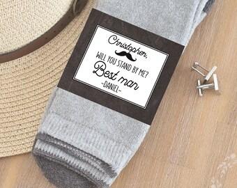 CUSTOM Groomsmen Sock labels - Be My Groomsman proposal -PRINTABLE Groomsmen gift labels - best man gift, groomsman gift- Groomsman stickers