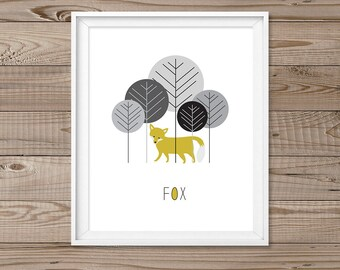 "Fox wall art, Instant download, 8x10"", Woodland wall art, Modern nursery Art, Fox nursery, Forrest animal wall art, Modern nursery prints"