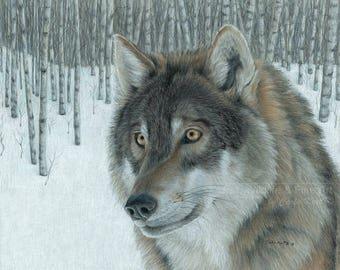 Wolf Art WOLF IN ASPENS Original Artwork by Carla Kurt
