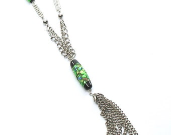 Vintage Tassle Necklace, Iridescent Beads, Green Glass Dangle Bead, Double Chains, Long Chain, Silver Tone, 1970's, Gift Idea, Excellent