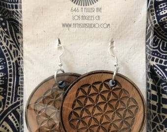 Flower of Life solid Cedar amulet earrings