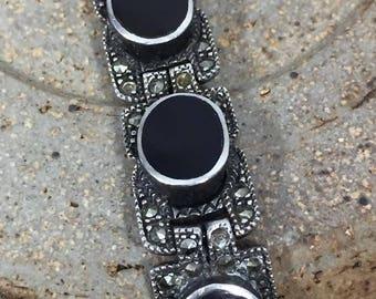 Vintage Sterling & Onyx Gemstone Panel Link Bracelet