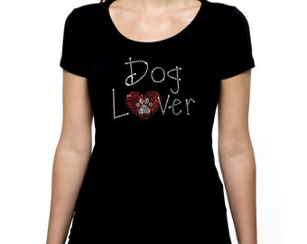 Dog Lover RHINESTONE t-shirt tank top  Bling S M L XL 2XL - Puppy Heart Animal Pet Rescue Love Adopt Don't Shop Shelter Worker Veterinarian