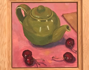 "SALE, Acrylic painting, still life teapot and cherries on 6""x6"" gessoed panel"