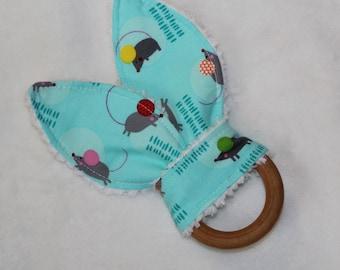 Blue Mice Rabbit Ears Wooden Teething Ring - SALE