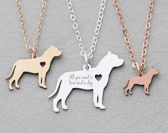 Pit Bull Dog Necklace • Pitbull Jewelry Dog Gift Animal Rescue • Personalized Dog Charm Necklace • Animal Charm Pet Rose Gold Charm Pet