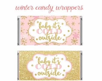 Winter Wonderland Candy Bar Wrappers, Pink and gold Birthday,Winter Baby Shower favors, winter onederland chocolate Wrapper, Digital File.