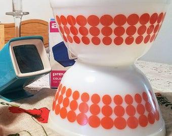Two Pyrex Orange Dot Bowls Small