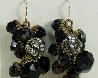 Vintage Black Chandelier Earrings, Italian Murano Earrings, West German Beaded Earring, Clear Rhinestone and Black Acrylic Earrings Under 25