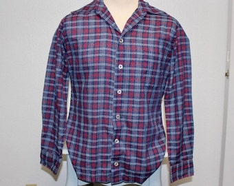 Vintage 1950s navy blue red plaid nubby long sleeve button down shirt large 368