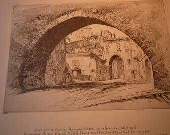 Perugia Arch of the Conca Italian street - John Taylor Arms etching - fine detail - framable 1930 book plate Print Maker Award winner