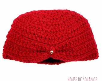 Red Baby Turban, Crochet Baby Turban, Handmade Baby Hat, Ruby Red