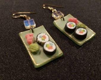 Sushi roll Platter Earrings with ginger and wasabi