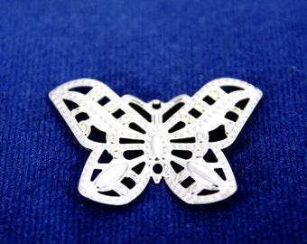 20 pcs 25x25 mm Brass Butterfly Charms, Brass Butterfly Blank, Silver Tone