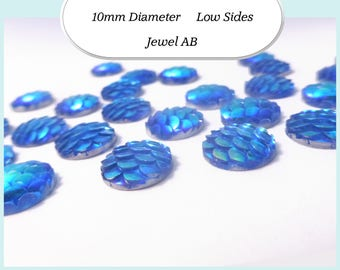 10 x 10mm Deep Jewel AB Mermaid Fish Scale Cabochons - Australia