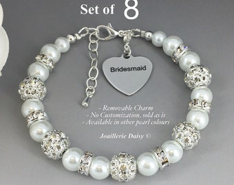 Set of 8 Bracelet Pearl Jewelry Bridesmaid Gift Bridesmaid Bracelet Bridesmaid Jewelry Bridal Party Jewelry Wedding Jewelry