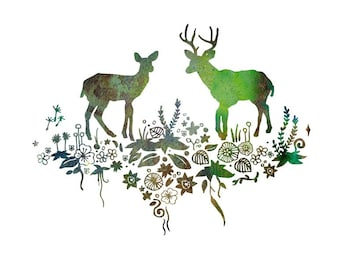 """Art Print """"Forest Deer & Stag"""" - Woodland Animals, Animal Artwork, Deer Art, Forest Painting, Animal Illustration, Animal Drawing, Wall Art"""