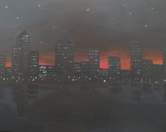City by the river at night Acrylic painting on canvas