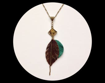 Necklace bronze cabochon and leaves made of leather - gift idea