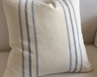 COTTAGE CASUAL Organic cotton in french blue color stripes pillow cover square 16-17-18-19-20-21-22