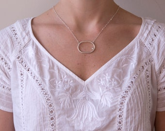 Recycled Sterling Silver Oval Necklace Adorned with Gem, Eco-Friendly