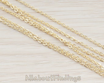 CHN001-MG // Matte Gold Plated Small Cable Chain, 1 Meter.