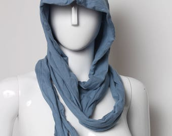 light hood, bohemian hood, blue hood, slate blue hood, hippie hood, hooded scarf, assassin hood, celtic hood, festival wear, burning man,