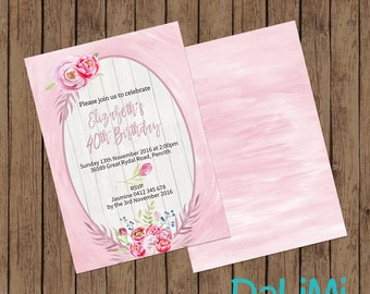 5 x 7 inch Floral Party Invitation - Birthday Invitation - Baby Shower Invitation - 40th Birthday Invitation - Printable Invitation!