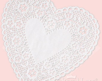 "6"" White Lace Heart Paper Doilies Royal Lace, 18/PK Made In The USA"