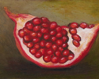 Giclee, Archival, Matted Print of an Original Oil Pastel Painting of a Pomegranite